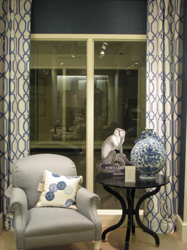 Blue fabric showroom